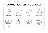 Communication chart with keywords and monochrome line icons