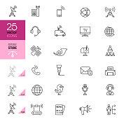 Communication Line Icons. Editable stroke.