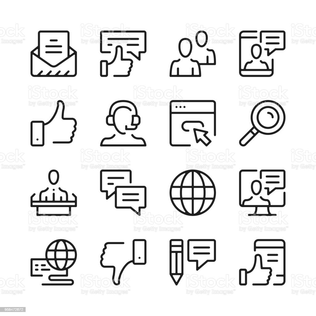 Communication line icons set. Modern graphic design concepts, simple outline elements collection. Vector line icons vector art illustration