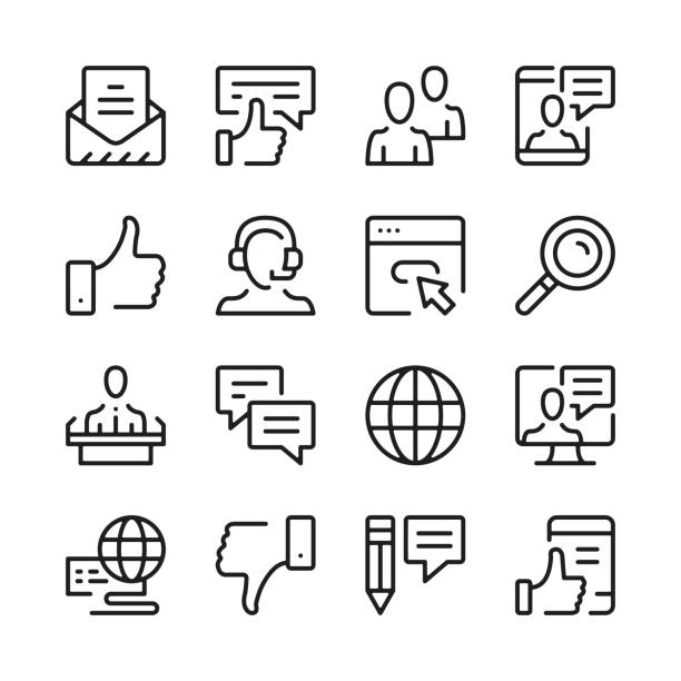 communication line icons set. modern graphic design concepts, simple outline elements collection. vector line icons - obsługa stock illustrations