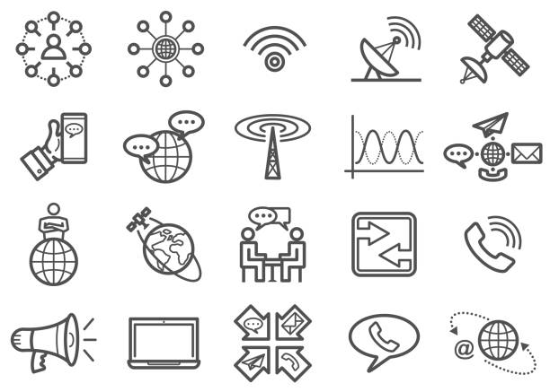 communication line icons set - astronomy telescope stock illustrations