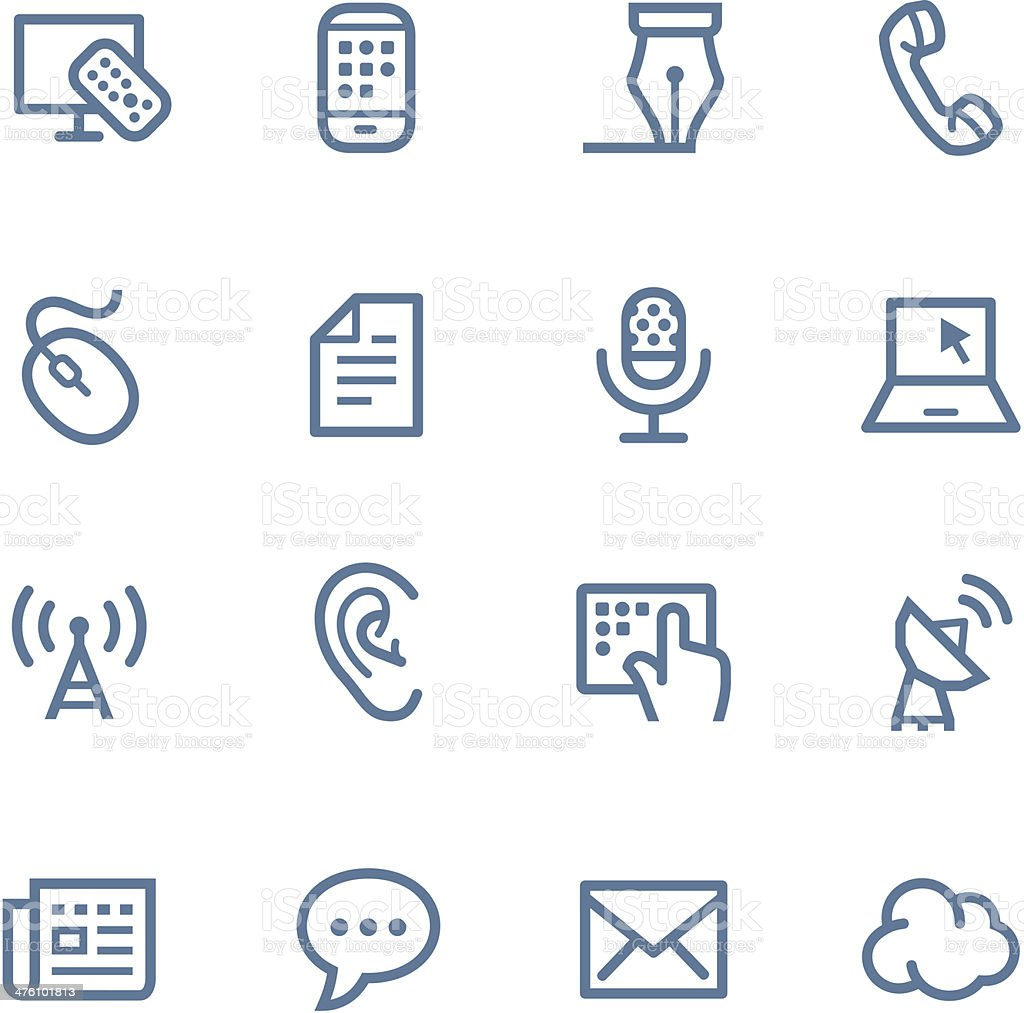 Communication line icons vector art illustration