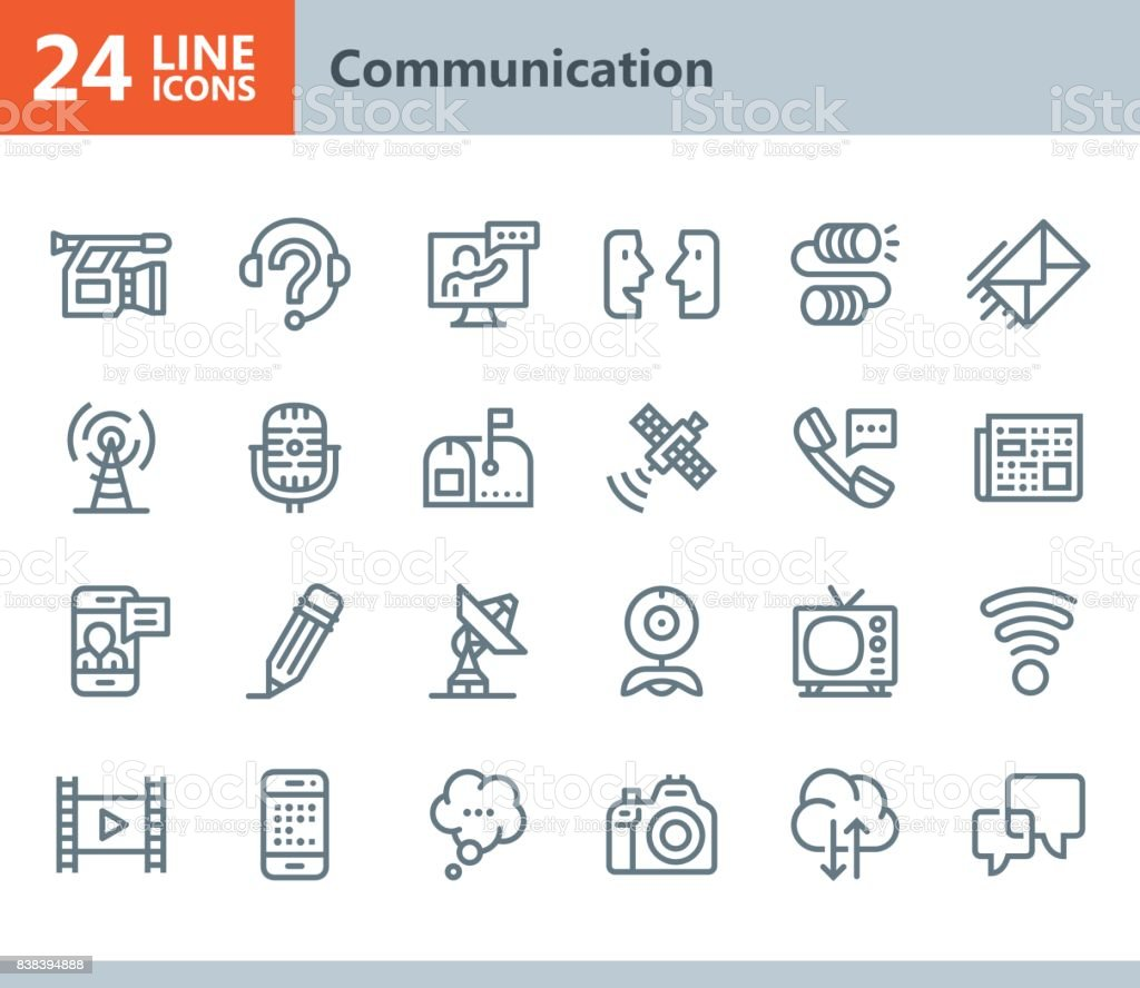 Kommunikation - Linie Vektor-icons – Vektorgrafik
