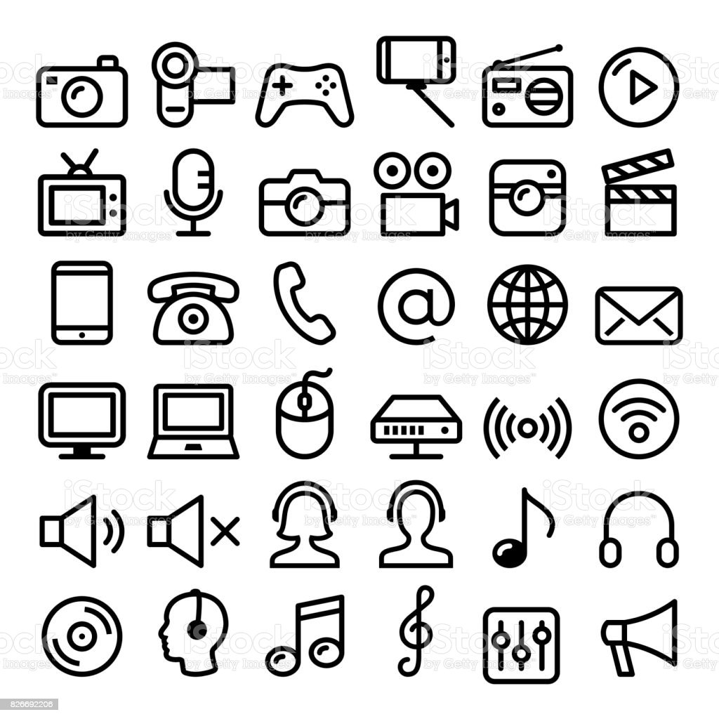 Communication, Media, modern technology web line icon set - big pack vector art illustration