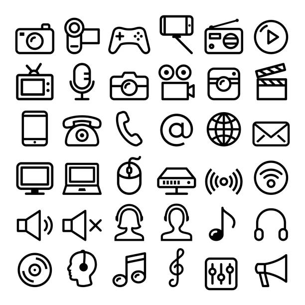 communication, media, modern technology web line icon set - big pack - music and entertainment icons stock illustrations