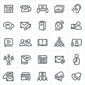 A set of communication icons. The icons include a website, telephone, tablet pc, picture, ear, blog, chat, letter, brochure, satellite dish, laptop, computer, video, word of mouth, book, magazine, lecture, presentation, television, social media, SMS, texting, smartphone, online news, email, speaker, invitation, radio, video conference, direct mail and bullhorn.