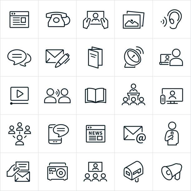 stockillustraties, clipart, cartoons en iconen met communicatie methoden pictogrammen - nieuwsevenement