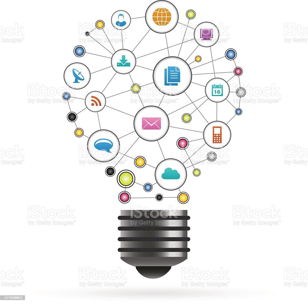 Communication network light bulb illustrations made of icons vector art illustration