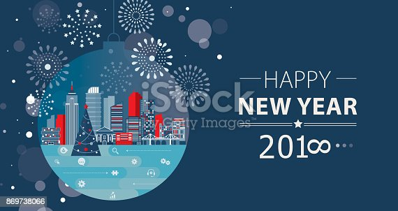 Business New Year greeting with cityscape placed inside Christmas ball and fireworks . Nicely layered.