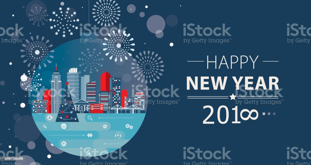 Communication New Year Concept vector art illustration