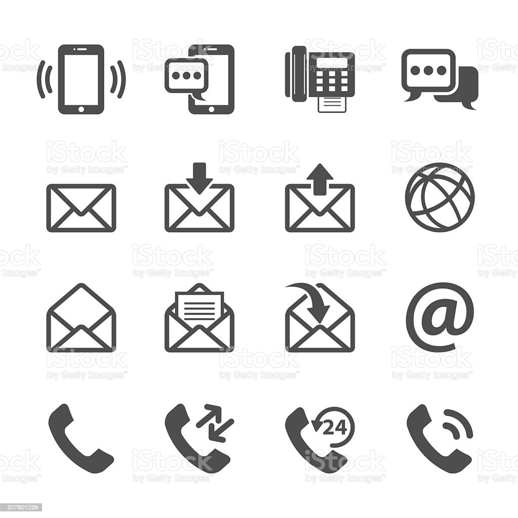 communication of phone and email icon set, vector eps10 vector art illustration
