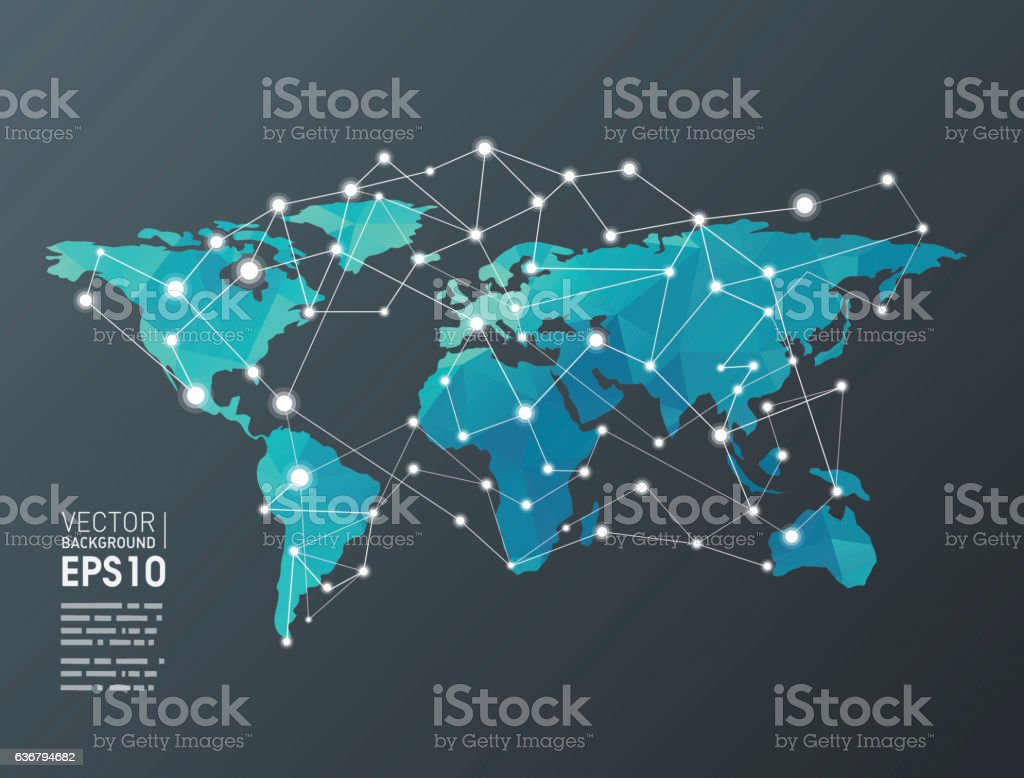 Communication on world vector art illustration