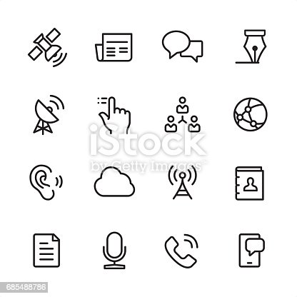 16 line black and white icons / Set #23