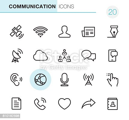 20 Outline Style - Communication - Black line - Pixel Perfect icons / Set #20