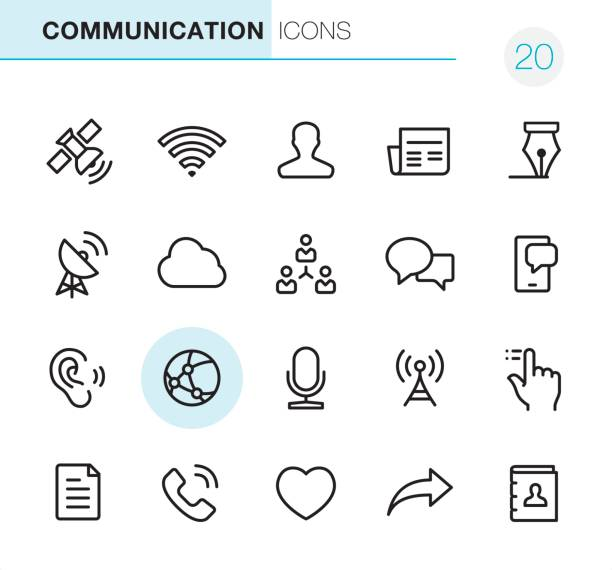 Communication - Pixel Perfect icons 20 Outline Style - Communication - Black line - Pixel Perfect icons / Set #20 broadcasting stock illustrations