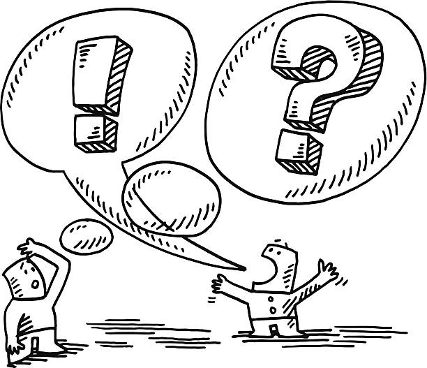 Communication Problem People Speech Bubble Drawing Hand-drawn vector drawing of a Communication Problem Concept, two People, Speech Bubble and Thought Bubble. Black-and-White sketch on a transparent background (.eps-file). Included files are EPS (v10) and Hi-Res JPG. cartoon character figure stock illustrations