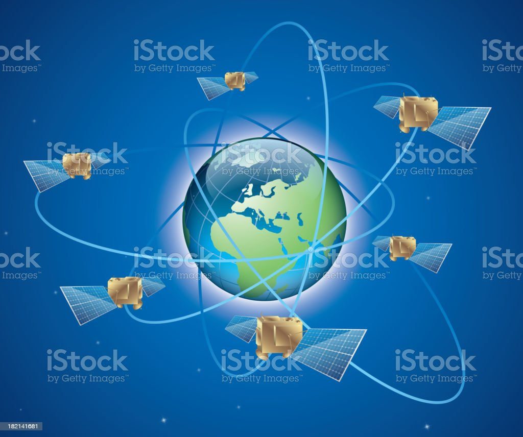 Communication Satellites vector art illustration