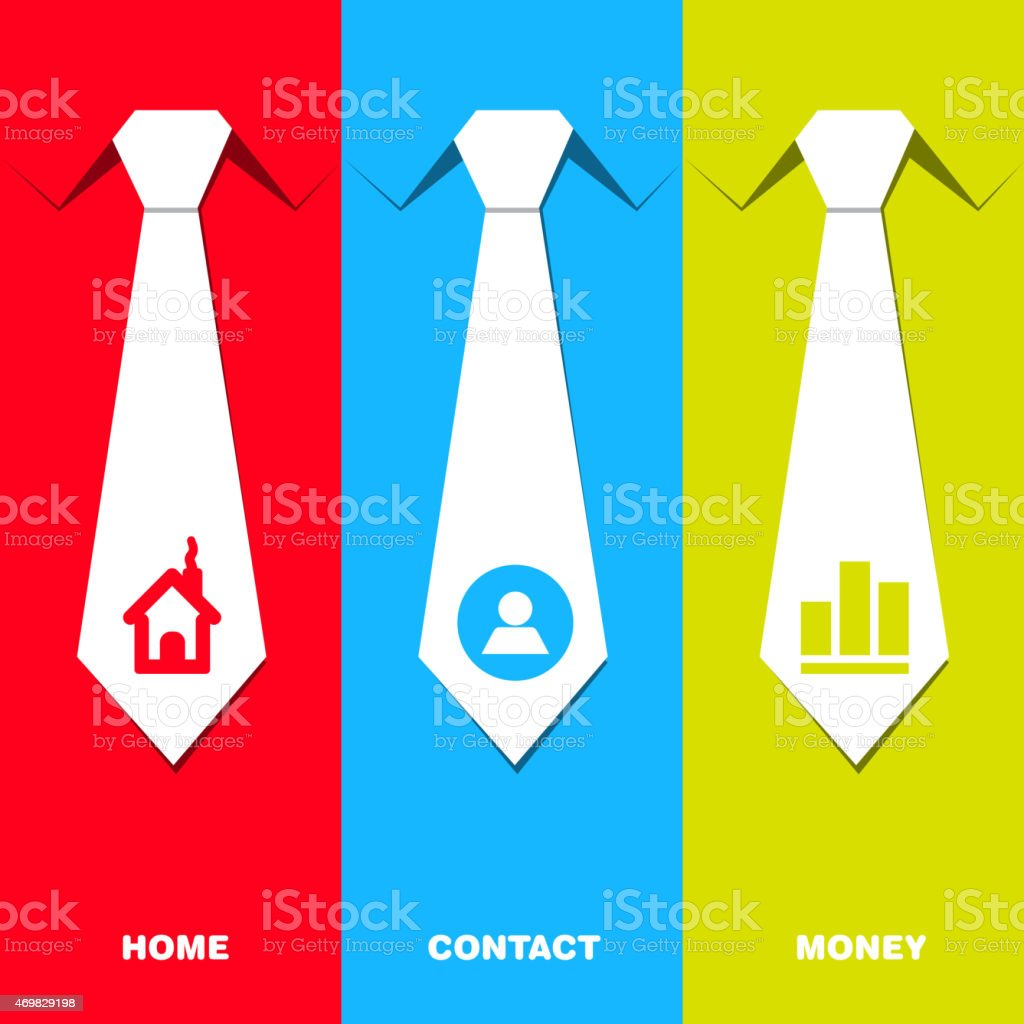 Communication set with neck tie - management idea vector art illustration