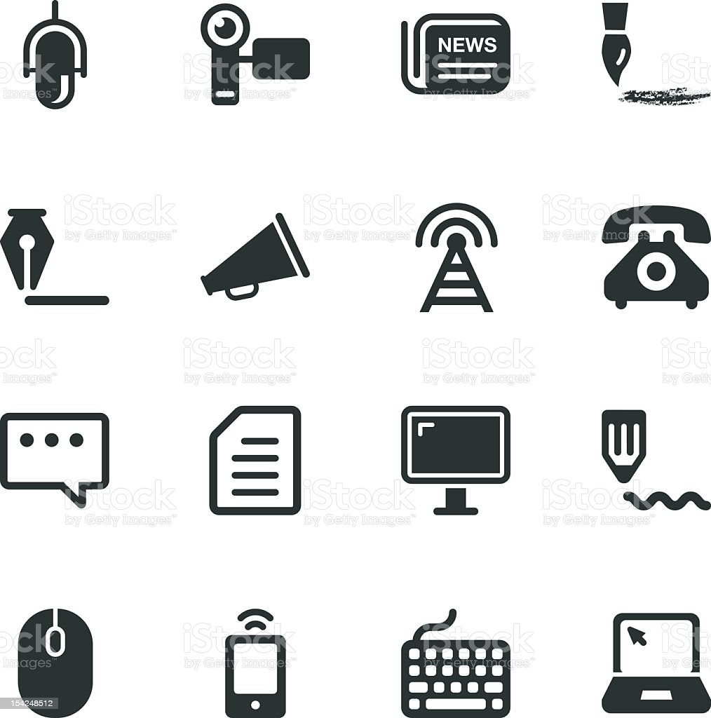 Communication Silhouette Icons   Set 2 royalty-free communication silhouette icons set 2 stock vector art & more images of antenna - aerial