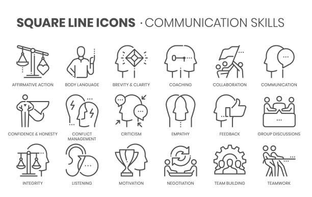 umiejętności komunikacyjne związane, linia kwadratowa - umiejętność stock illustrations