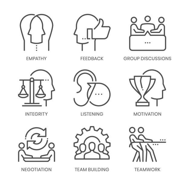 communication skills related, square line - group of people stock illustrations