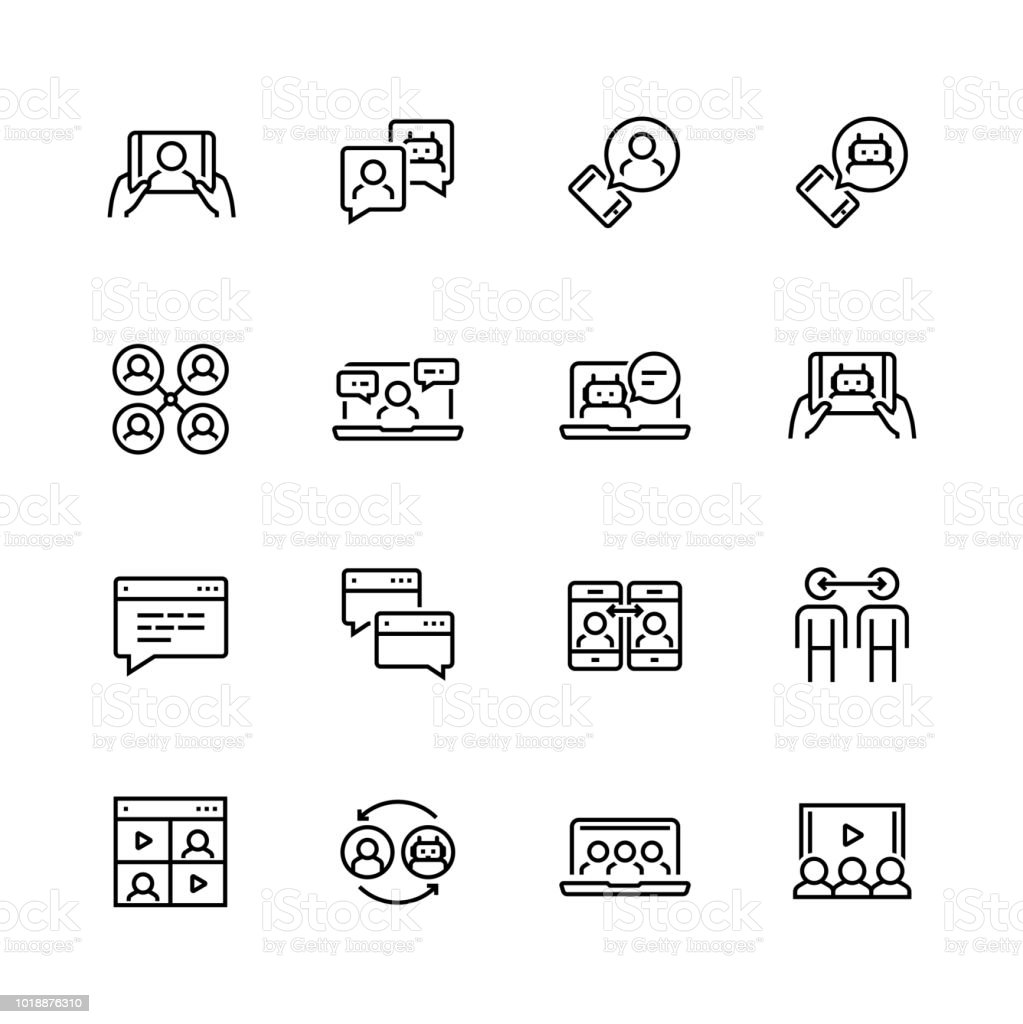 Communication smart technologies vector icon set in thin line style vector art illustration