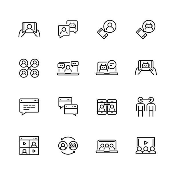 ilustrações de stock, clip art, desenhos animados e ícones de communication smart technologies vector icon set in thin line style - video call