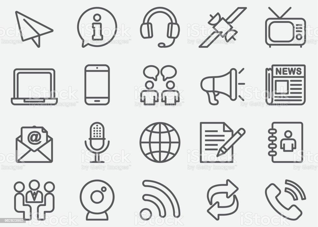 Kommunikation & soziale Linie Symbole - Lizenzfrei Adressbuch Vektorgrafik