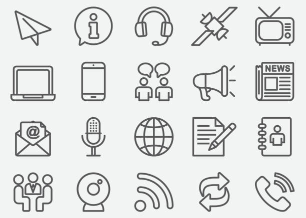 Communication & Social Line Icons Communication & Social Line Icons airplane symbols stock illustrations