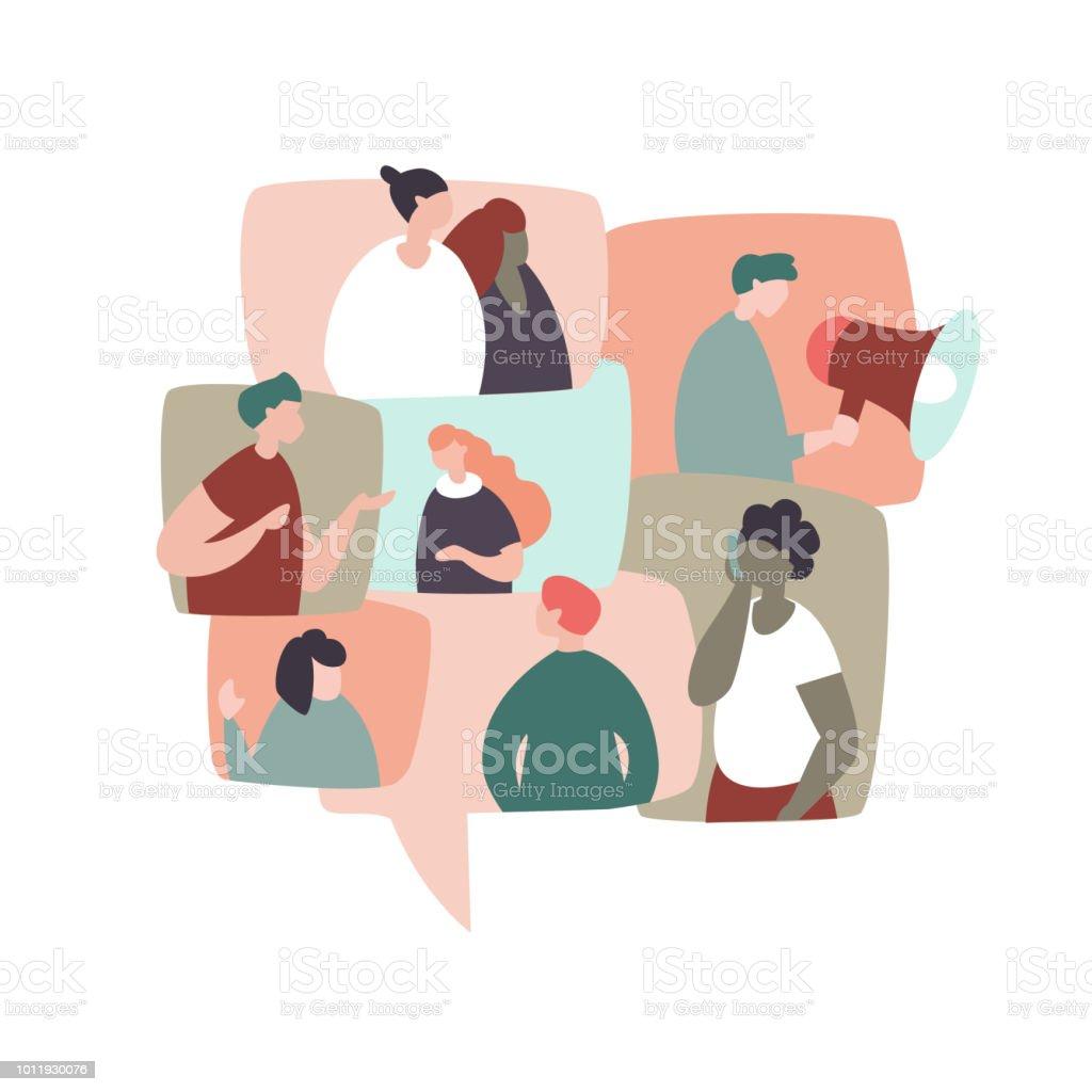 Kommunikation, soziale Netzwerke, Chat – Vektorgrafik