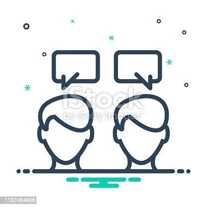 Icon for communication, talking, conversation, chitchat, discussion, parley, person, message, chatting