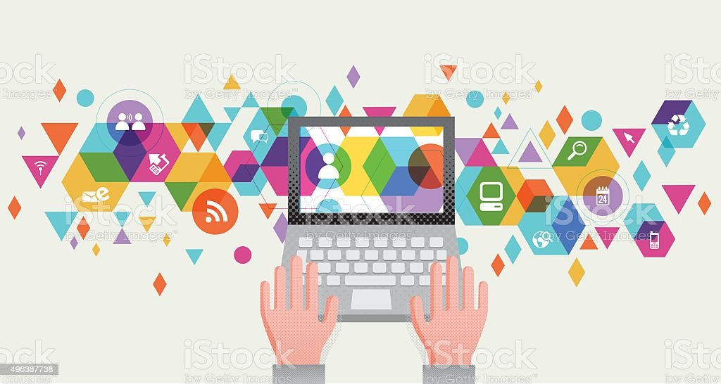Communication Tech design vector art illustration
