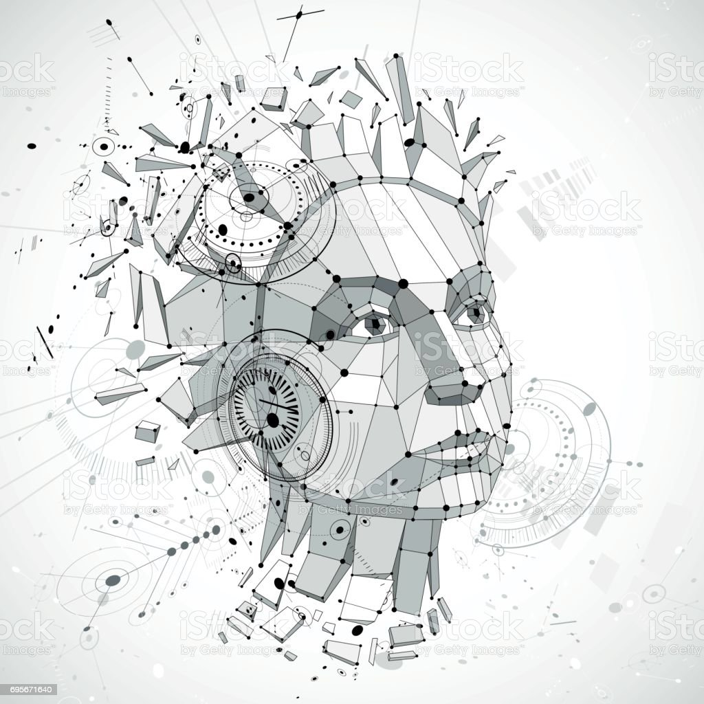 Communication technology 3d vector background made with engineering draft elements and mechanism parts, science subject. Low poly illustration of human head full of thoughts, intelligence allegory. vector art illustration