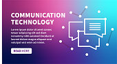 Communication technology banner on holographic gradient background for web, mobile, print, textile or any graphic projects.