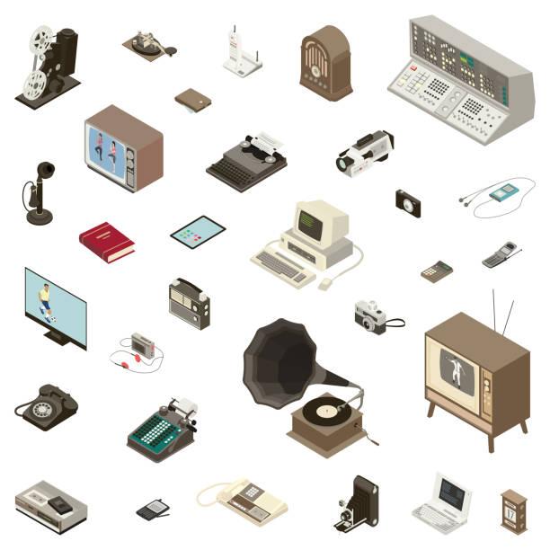 Communication Technology Devices vector art illustration