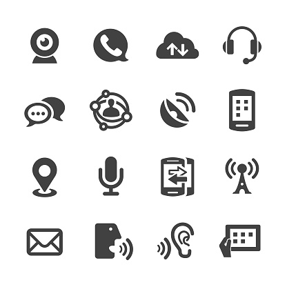 Communication Technology Icons Acme Series Stock