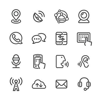 Communication Technology Icons Line Series Stock