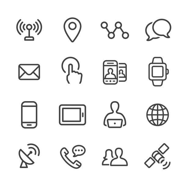 ilustraciones, imágenes clip art, dibujos animados e iconos de stock de conjunto de iconos comunicación tecnología - línea serie - física