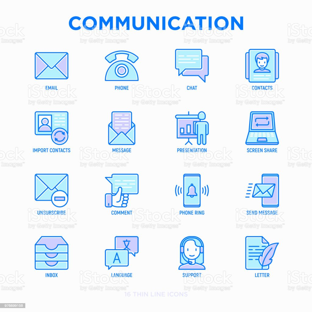Communication thin line icons set: email, phone, chat, contacts, comment, inbox, translator, presentation, message, screen share, support, letter, unsubscribe. Modern vector illustration.