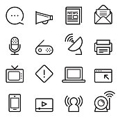 Communication Thin Line Icons