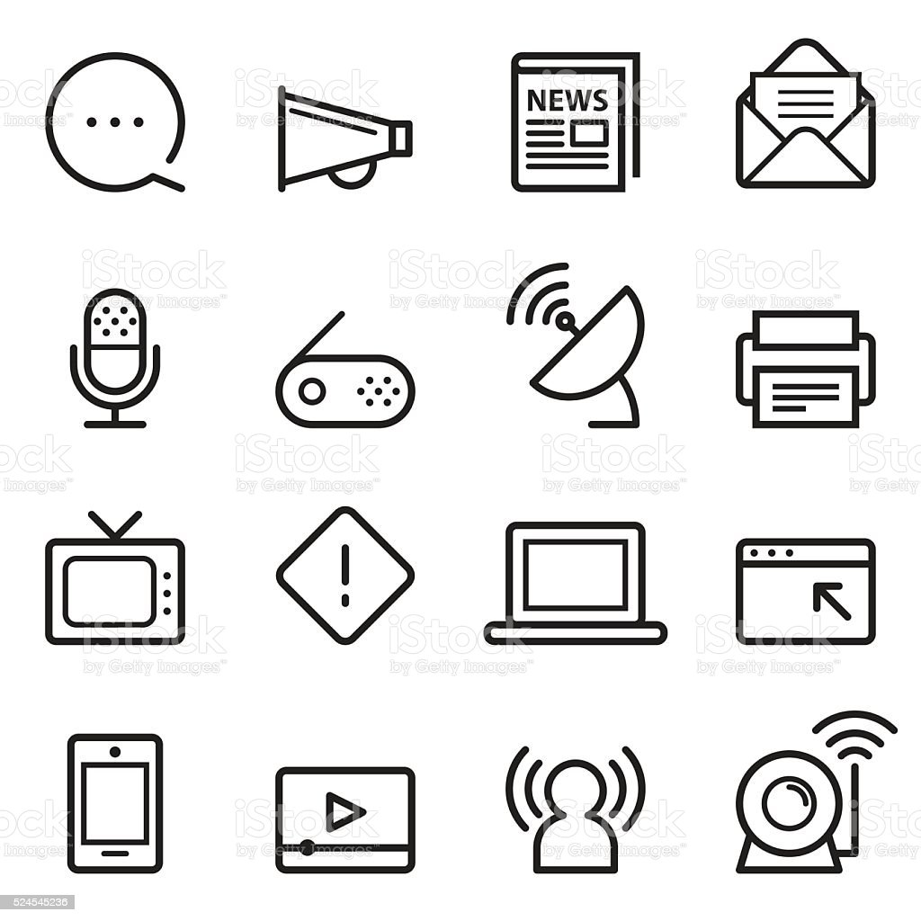 Communication Thin Line Icons vector art illustration