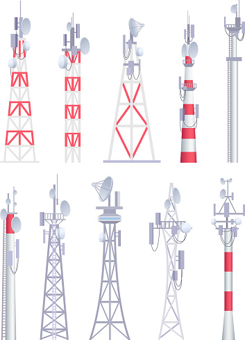 Communication tower. Cellular broadcasting tv wireless radio antena satellite construction vector pictures in cartoon style