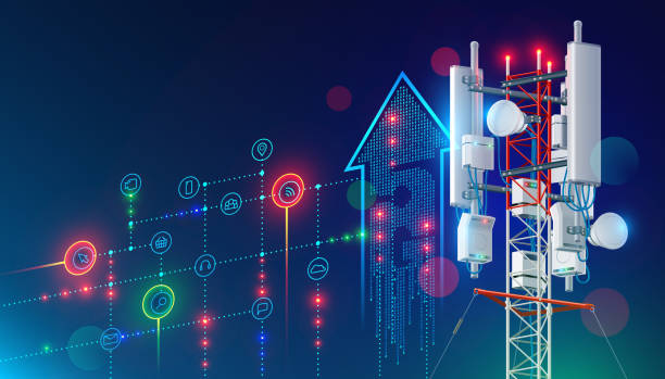 5G communication tower internet. LTE antenna vector art illustration