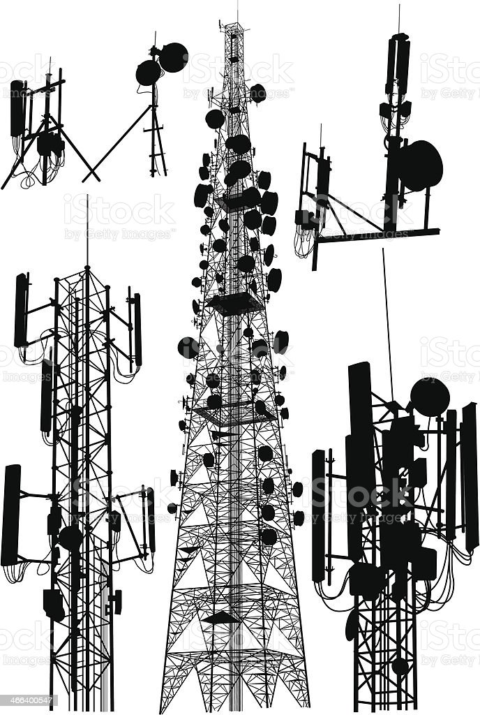 Communication Tower vector art illustration