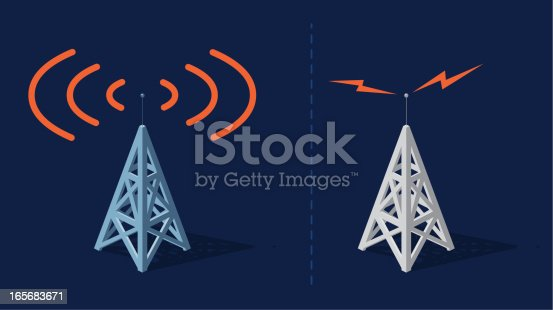 Radio towers with orange frequencies
