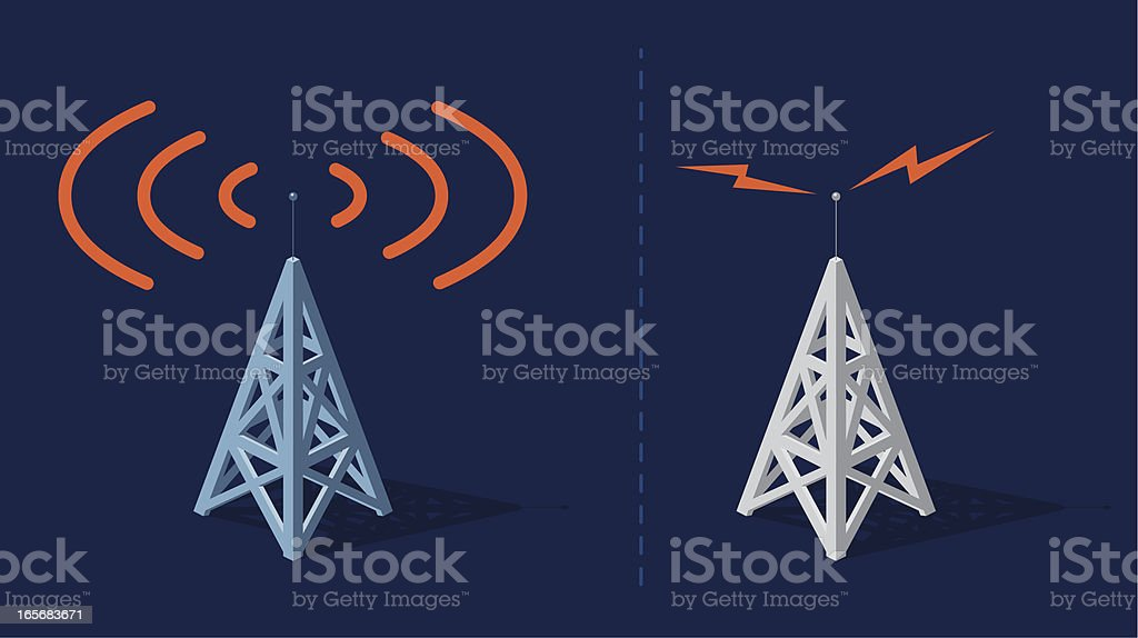 Two sets of animated radio towers sending orange frequencies vector art illustration