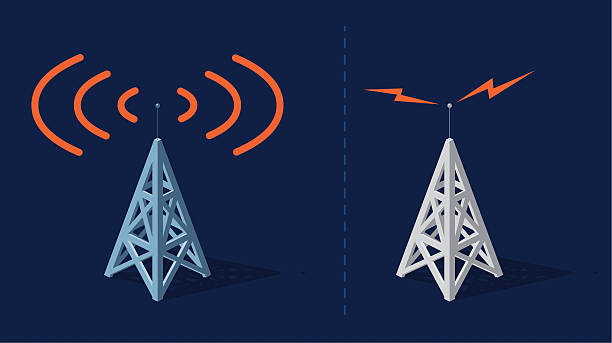 Communication towers Radio towers with orange frequencies broadcasting stock illustrations