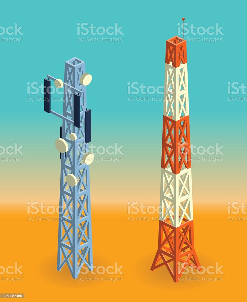 communication towers vector art illustration