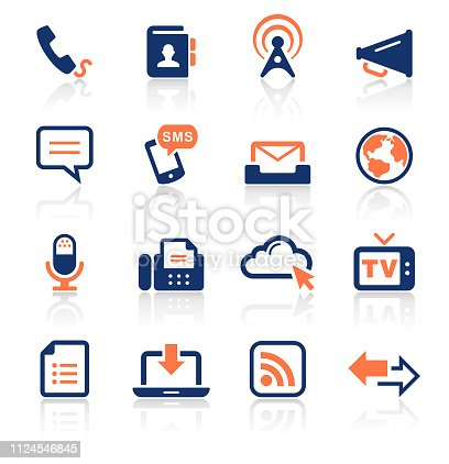 An illustration of communication two color icons set for your web page, presentation, apps and design products. Vector format can be fully scalable & editable.