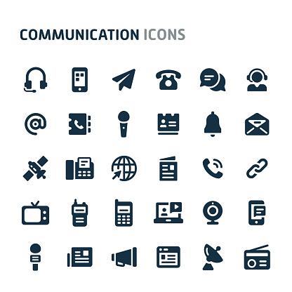 Communication Vector Icon Set. Fillio Black Icon Series.